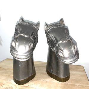 Horse bookends vintage decor pair